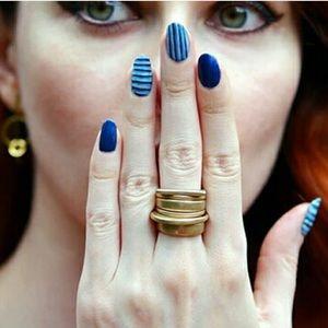Gold Geometric Ring Set